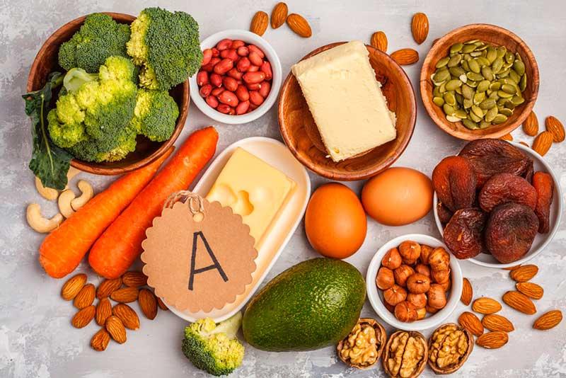 Источники витамина А:  морковь, красный перец, печень, сливочное масло.